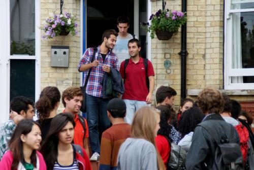 Cambridge StudentsOutsideSchoolFront
