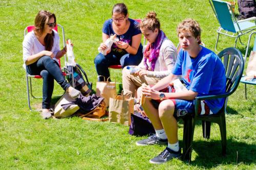 Hampstead garden students relaxing